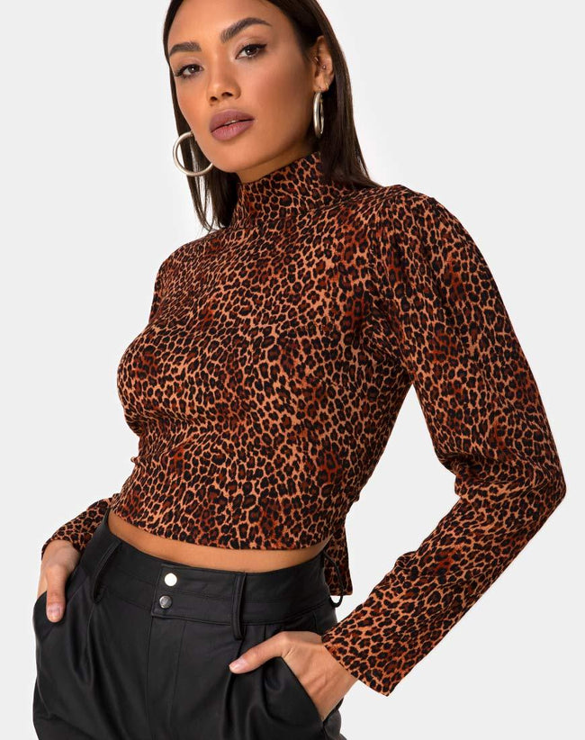 Jasty Crop Top in Crinkle Ditsy Leopard Orange by Motel