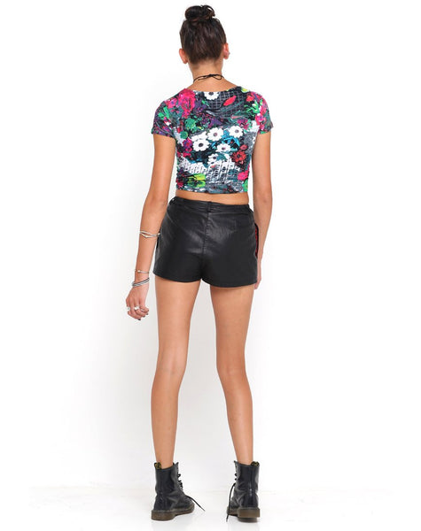 Motel Tabby Crop in Pink Southern Floral Highlight Print