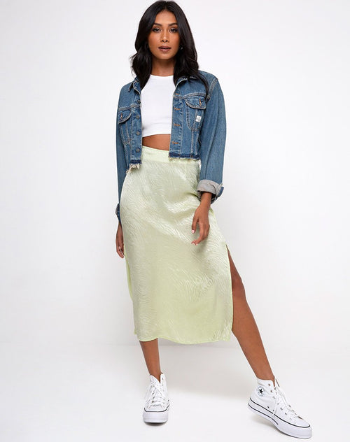 Tindra Skirt in Satin Zebra Pistachio by Motel