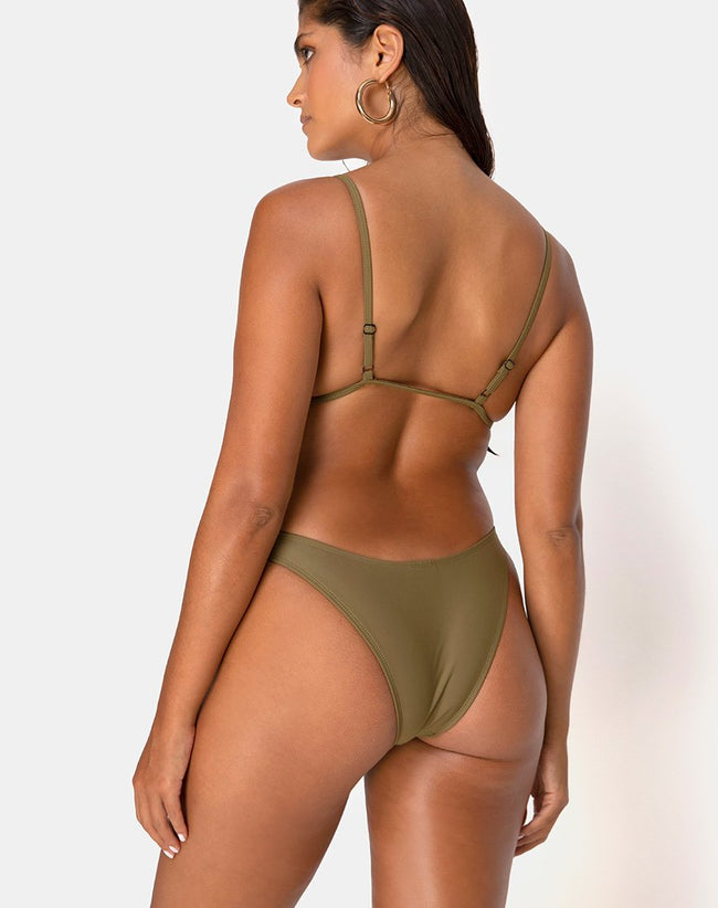 Valda Bikini Top in Matte Khaki by Motel