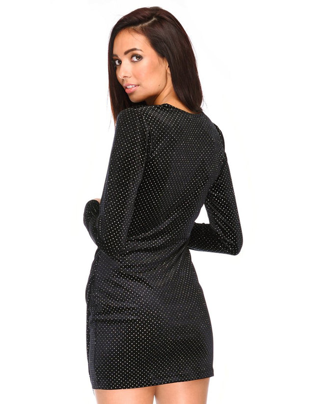Willow Bodycon Dress in Black and White Dot by Motel