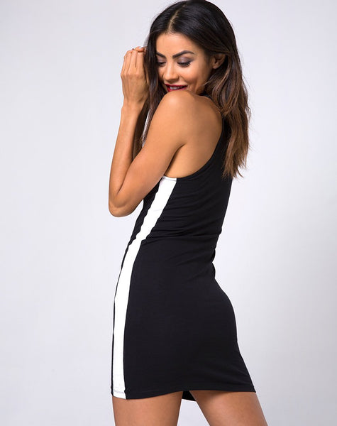 Zena Bodycon Dress in Black with White Stripe by Motel