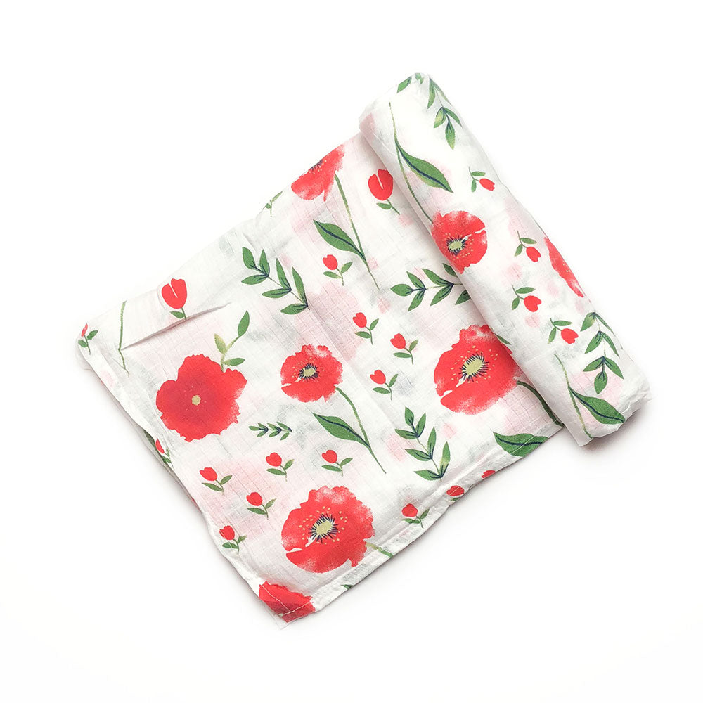 Poppy Flowers Muslin Blanket
