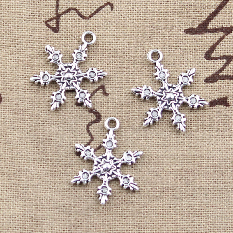 10pcs 23x17mm, Antique snow snowflake Charm/ pendant