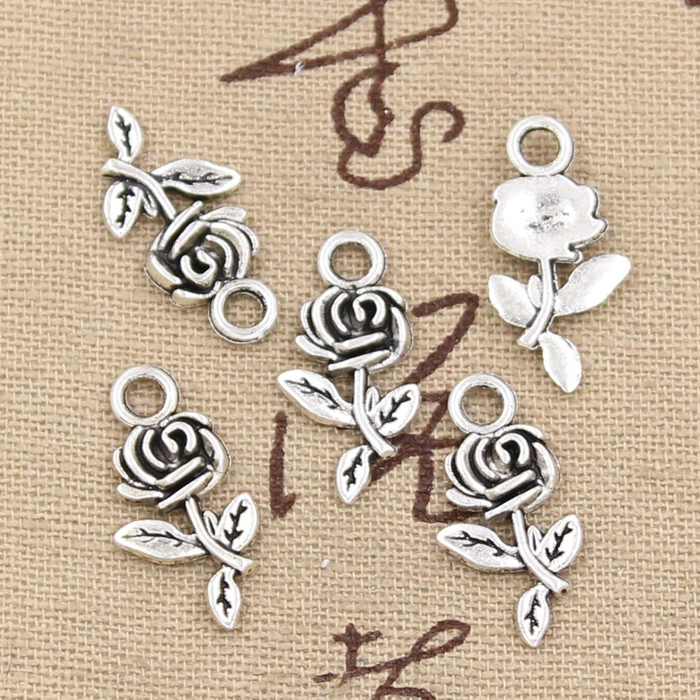 10pc 21mm, Antique rose flower Charm/ pendant