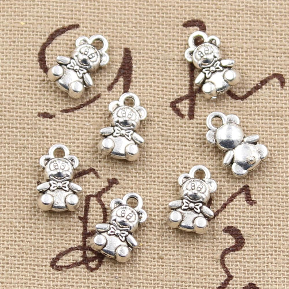 10pcs 11x7mm, Antique Teddy bear Charm/ pendant