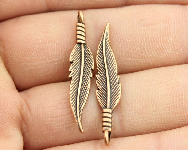 WYSIWYG 10pcs 32*6mm Antique Copper Color Feather Charms