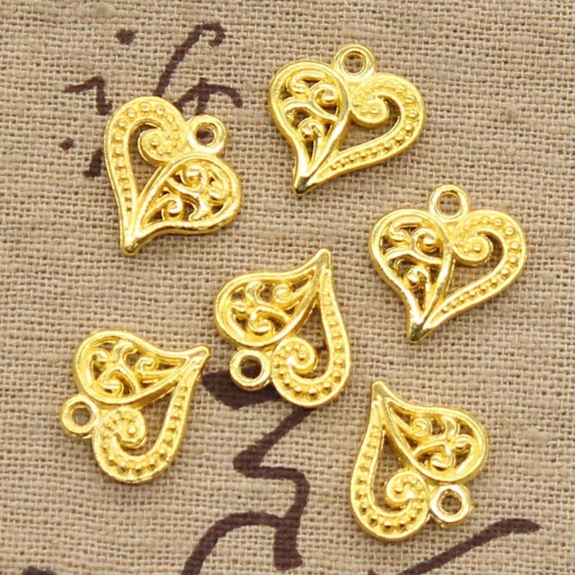 10pcs 15X14mm, Antique Hollow lovely heart Charm/ Pendant