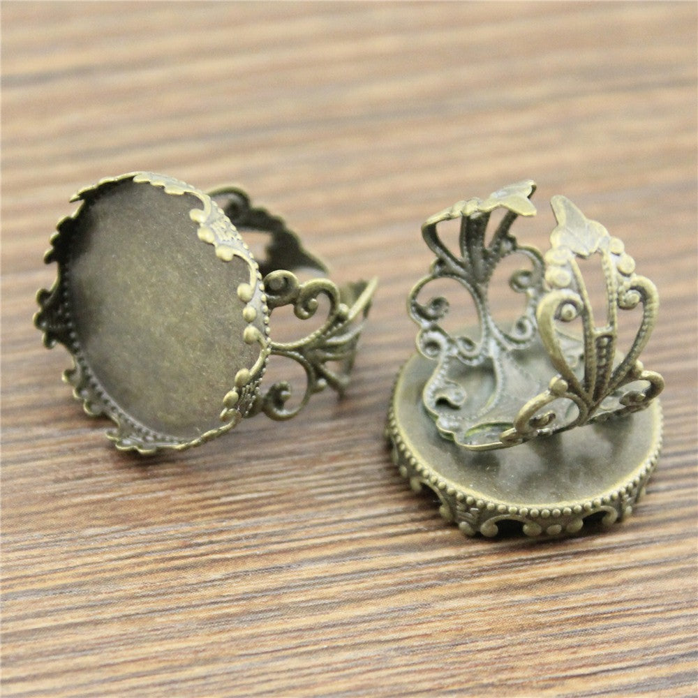 10pcs 15x20mm, Antique Cabochon Crown Edge Adjustable Ring Setting