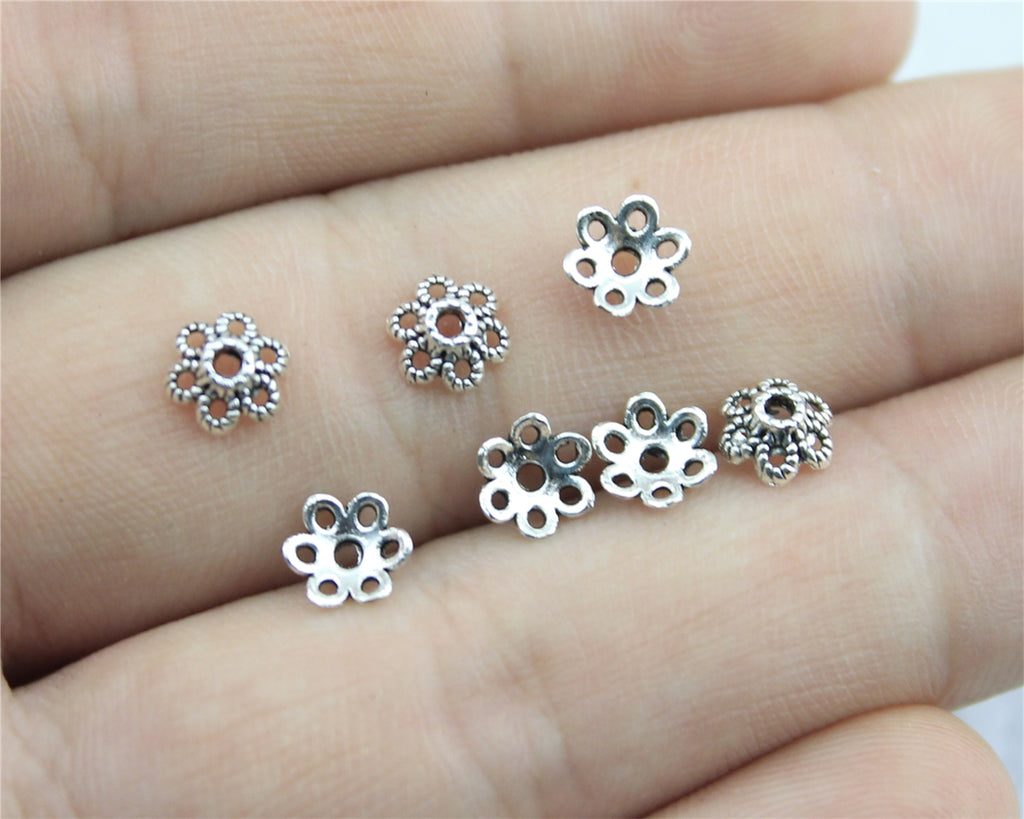 WYSIWYG 120pcs 6x6mm Flower Bead Caps Beads Caps Receptacle Flower Torus Diy Spaced Apart Jewelry Finding Accessories