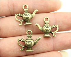 WYSIWYG 5pcs 21x19mm Pendant Teapot Kettle Charm Pendants For Jewelry Making Antique Silver 3D Teapot Pendants