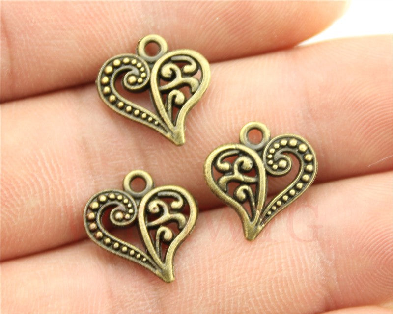 WYSIWYG 12pcs 15x14mm Small Heart Charm Tiny Heart Charm Antique Bronze Heart Charm For Jewelry Making