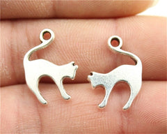 WYSIWYG 10pcs 19x14mm Pendant Cat Cat Charm Pendants For Jewelry Making Antique Silver Cat Pendants