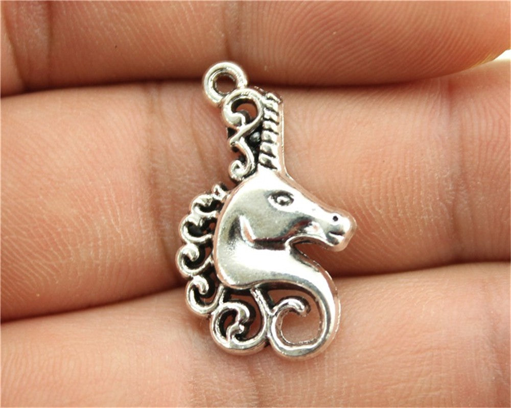 WYSIWYG 8pcs 26x15mm Lucky Horn Horse Head Charm Pendants For Jewelry Making Antique Silver Lucky Horn Horse Pendants