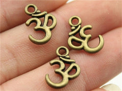 WYSIWYG 10pcs 15x10mm 2 Colors Antique Silver, Antique Bronze Plated Om Bracelet Charm Yoga Charm Om Charms For Jewelry Making