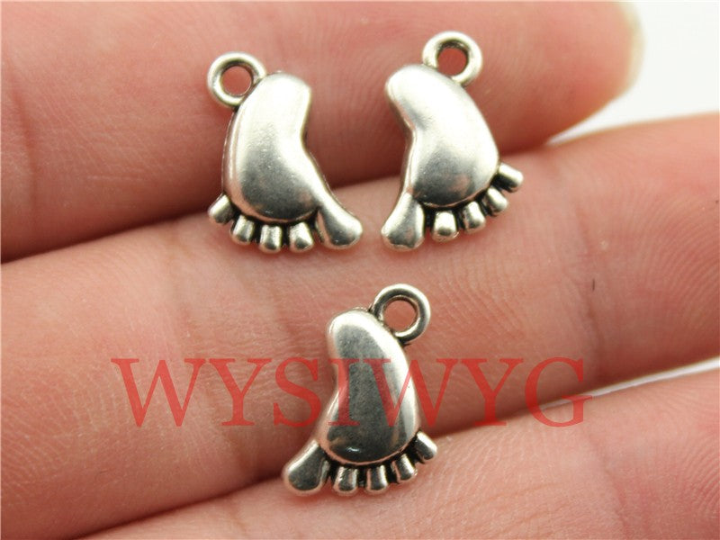 WYSIWYG 10pcs 14x10mm Charms Baby Feet Charm Feet Charms Little Feet Vintage DIY Accessories For Jewelry Making