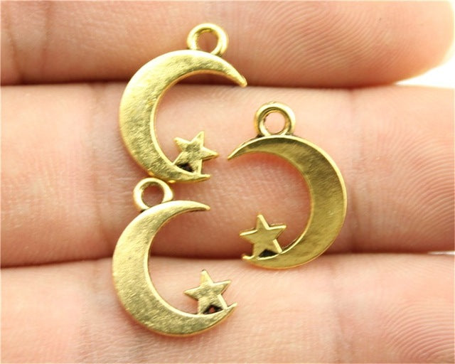 WYSIWYG 12pcs 17x11mm 3 Colors Antique Gold, Antique Silver, Antique Bronze Moon And Star Charm Star And Moon Charms