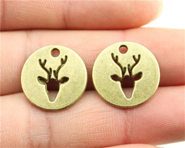 WYSIWYG 5pcs 18mm 3 Colors Antique Gold, Antique Silver, Antique Bronze Deer Charms Round Deer Pendant Charms For Jewelry Making
