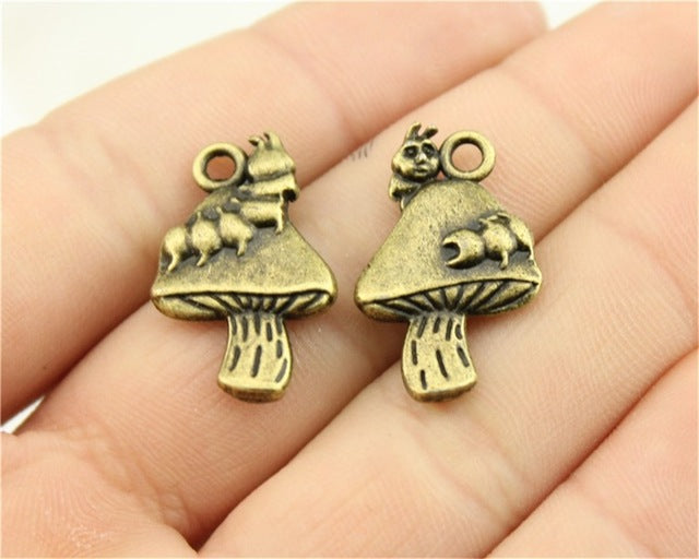 WYSIWYG 3pcs 25x16mm Charm Caterpillar Mushroom Caterpillar Charms For Jewelry Making Antique Silver Caterpillar Mushroom Charms