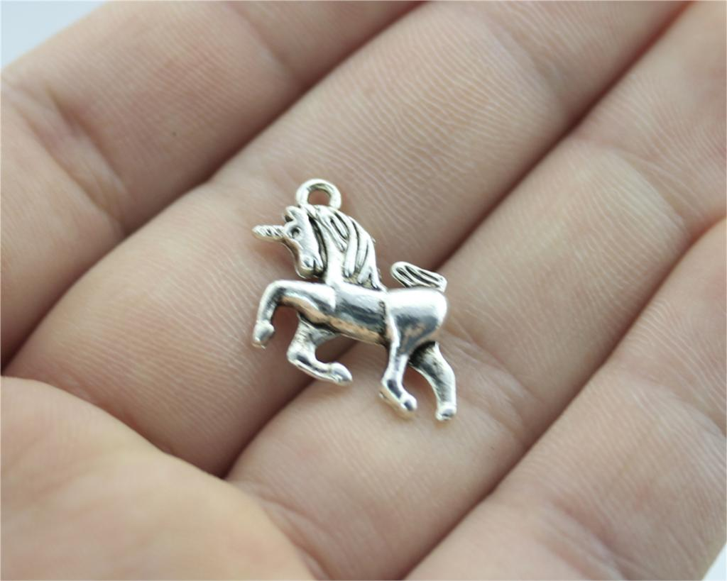 WYSIWYG 6pcs 19x16mm Lucky Horn Horse Charm Pendants For Jewelry Making Antique Silver Lucky Horn Horse Pendants