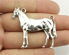 WYSIWYG 2pcs 41x41mm Big Horse Pendants Antique Silver Color Steed Horse Charm Horse Pendants For Jewelry Making