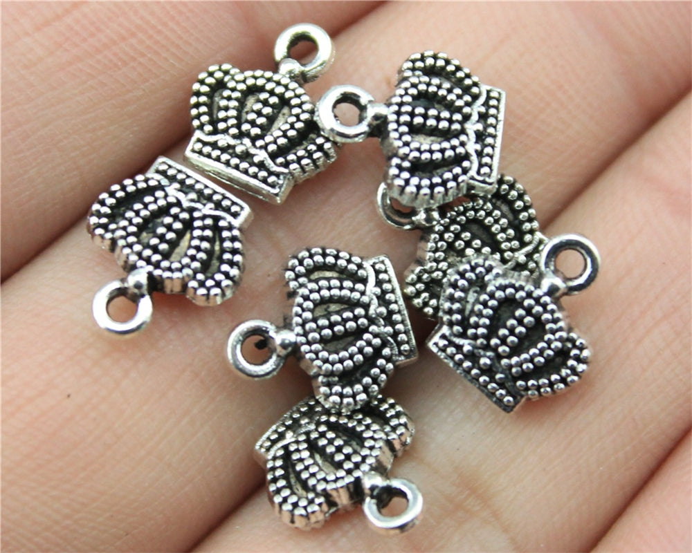 WYSIWYG 20pcs 11x10mm Small Crown Charm Pendants For Jewelry Making Antique Silver Color Crown Pendants Charm Crown