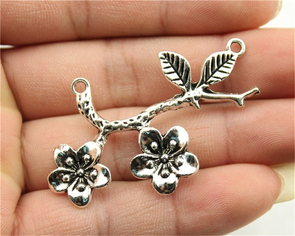WYSIWYG 3pcs 50x31mm 3 Colors Antique Gold, Antique Silver, Antique Bronze Flower Branch Charms Pendant Branch Pendant Diy