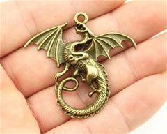 WYSIWYG 2pcs 43x46mm 3 Colors Antique Gold, Antique Silver, Antique Bronze Dragon Fly Charm Pendant Charm Fly Dragon Charms