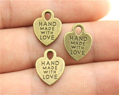 WYSIWYG 15pcs 15x12mm Hand Made With Love Charms Diy Heart Charms Hand Made With Love Heart Charms For Jewelry Making