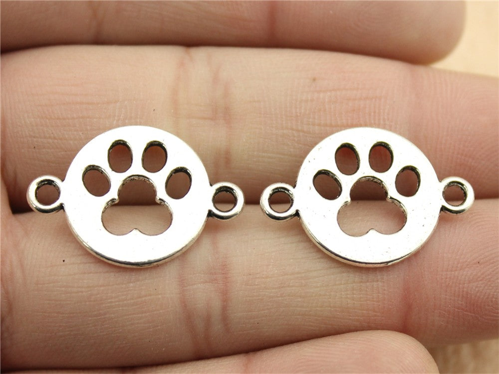 WYSIWYG 10pcs 24x16mm Paw Charm Connector Pendants Paw Pendants Connector Paw Connector Pendants For Jewelry Making