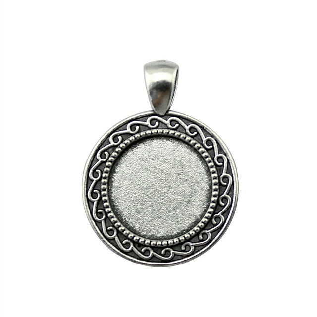 10pcs 18mm Inner Size, Antique Cabochon Base Pendant