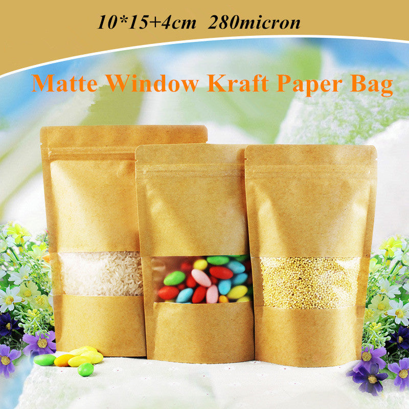 Stand Up Ziplock Kraft Paper Bag 10*15+3cm Heat Seal Valve Doypack Zipper with Frosted Window Biscuit Storage Pouch 100Pcs/lot