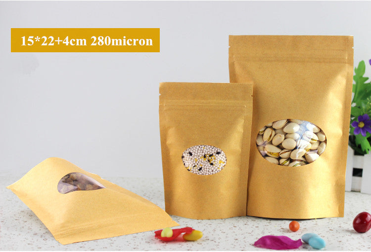 Doypack 15x22+4cm Stand Up Brown Kraft Paper Bag Clear Oval Plastic Window Zipper Zip Lock Food Storage Package Packing Bag