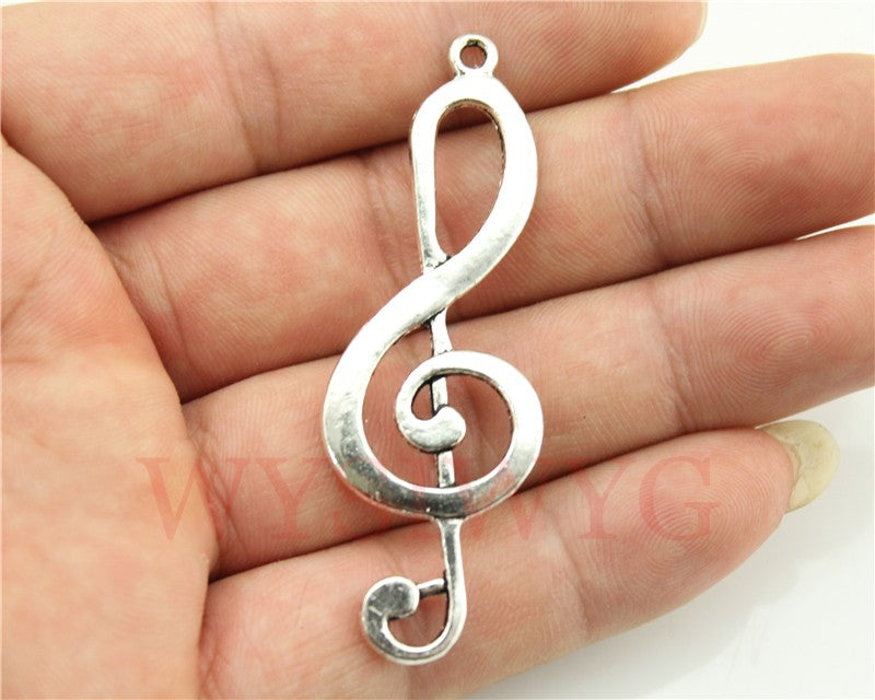 WYSIWYG 3pcs 60x21mm Musical Note Charm Pendants For Jewelry Making Antique Silver Musical Note Charm Pendant Big Musical Note