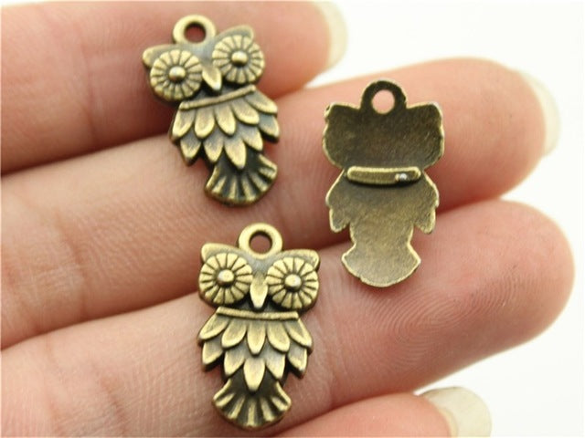 WYSIWYG 10pcs 20x11mm 3 Colors Antique Gold, Antique Silver, Antique Bronze Owl Charms Metal Owl Charms Alloy Owl Charm