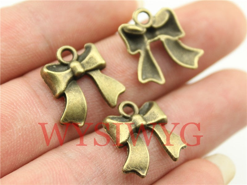 WYSIWYG 10pcs 17mm Vintage Tie Bow Pendants Charm For Jewelry Making Antique Bronze Color Bow Pendants Charm Bow