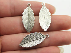WYSIWYG 10pcs 31x12mm 2 Colors Antique Silver, Antique Bronze Plated Leaf Pendant Leaf Pendants Diy For Jewelry Making