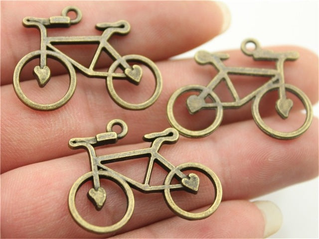 WYSIWYG 6pcs 31x23mm 3 Colors Antique Gold, Antique Silver, Antique Bronze Bike Charm Bicycle Pendant Bicycle Charm