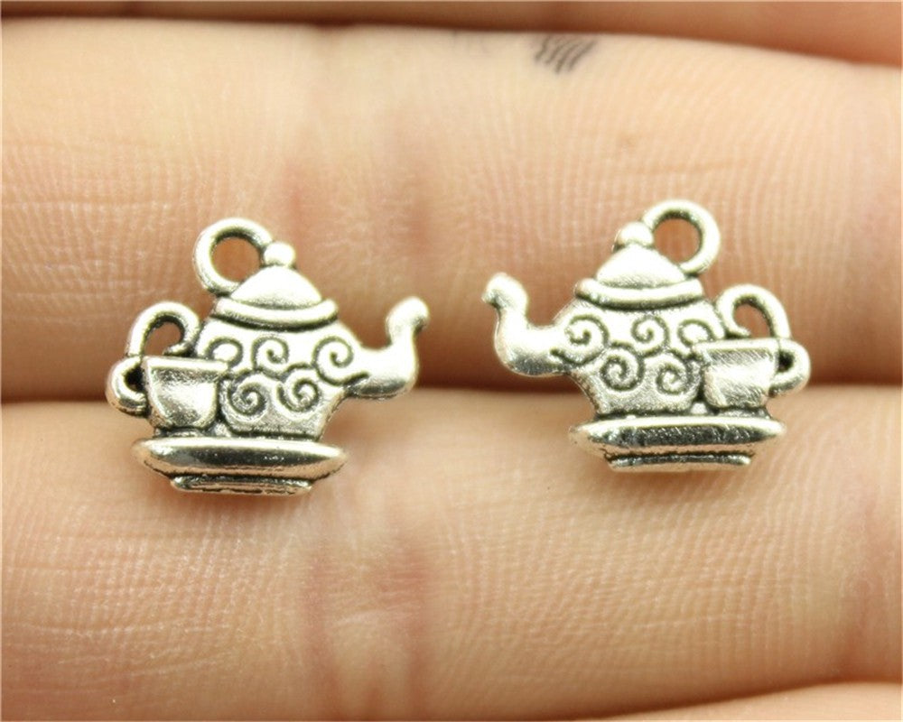 WYSIWYG 10pcs 13x15mm 2 Colors Antique Silver, Antique Bronze Plated Teapot Charms Coffee Cup Charm Tea Cup Charms