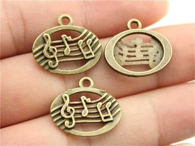 WYSIWYG 10pcs 20x17mm Pendant Musical Notes Charm Pendants For Jewelry Making Antique Silver Musical Notes Pendants
