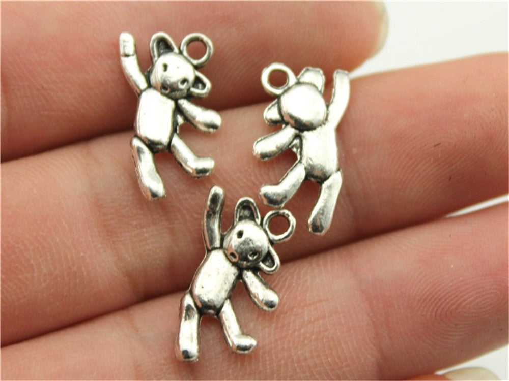 WYSIWYG 10pcs 19x10mm Cute Bear Charm Kawaii Bear Charms Dancing Bear Charms Vintage DIY Accessories For Jewelry Making
