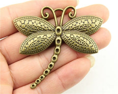 WYSIWYG 2pcs 60x58mm Charm Big Dragonfly Large Dragonfly Charm Pendants For Jewelry Making Antique Silver Dragonfly Pendants
