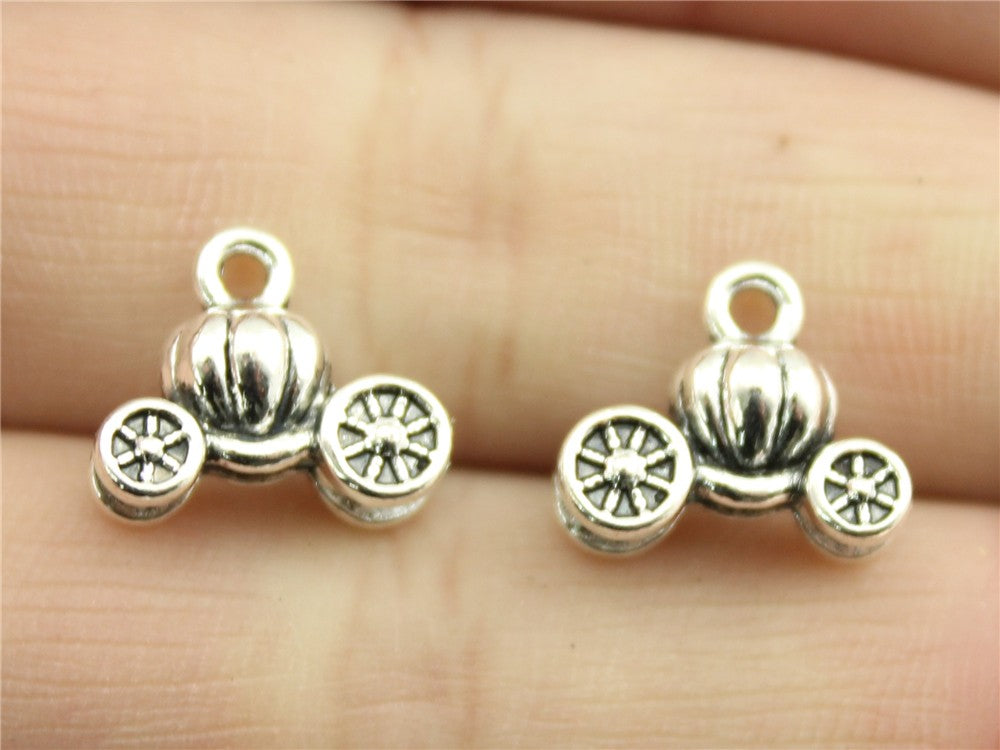 WYSIWYG 8pcs 13x11mm Pumpkin Car Charm Lucky Car Pendant Pumpkin Car Pendant Vintage DIY Accessories For Jewelry Making