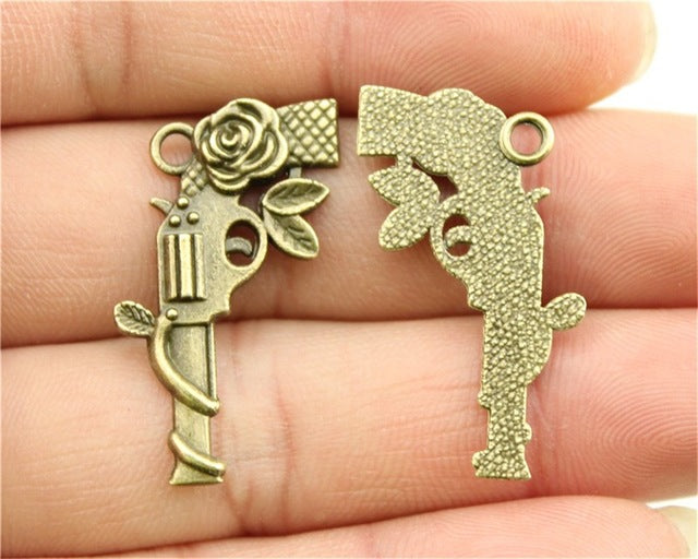 WYSIWYG 5pcs 31x19mm Antique Silver, Antique Bronze Flower Gun Pendants Pistol Pendants Charm Flower Gun Pendants Flower