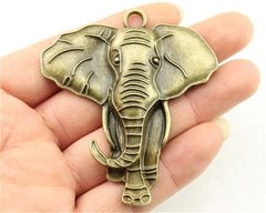 WYSIWYG 1pcs 71x63mm Big Elephant Pendants Antique Silver Elephant Pendants Charms Large Elephant Charm