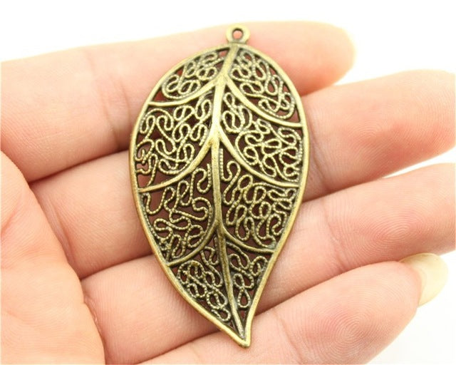 WYSIWYG 2pcs 57x31mm 3 Colors Antique Gold, Antique Silver, Antique Bronze Big Filigree Leaf Pendant Big Leaf Pendant Charms
