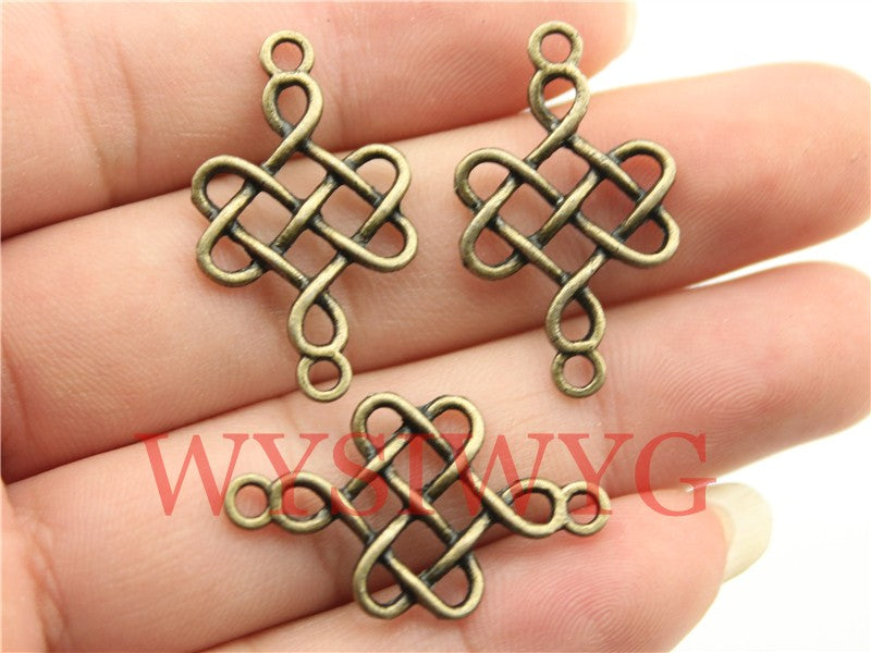 WYSIWYG 10pcs 31x18mm Chinese Knot For Jewelry Making Antique Bronze Lucky Chinese Knot Pendants Charm Chinese Knot Connector