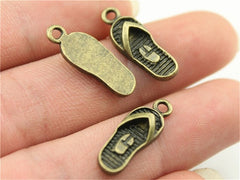 WYSIWYG 8pcs 21x8mm 2 Colors Antique Silver, Antique Bronze Plated Slipper Charm Shoe Charms Slippers Charms