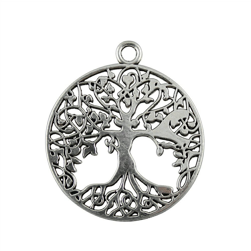 WYSIWYG 4pcs 40x35mm Tree Of Life Charm Pendants For Jewelry Making Antique Silver Tree Of Life Pendants Charm Tree Of Life