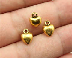 WYSIWYG 12pcs 9x7x4mm 3 Colors Antique Gold, Antique Silver, Antique Bronze 3D Solid Heart Charms 3D Tiny Heart Charm